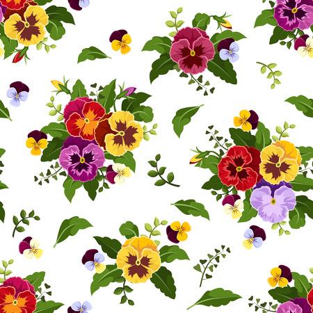 Seamless pattern con fiori colorati viola del pensiero, illustrazione vettoriale