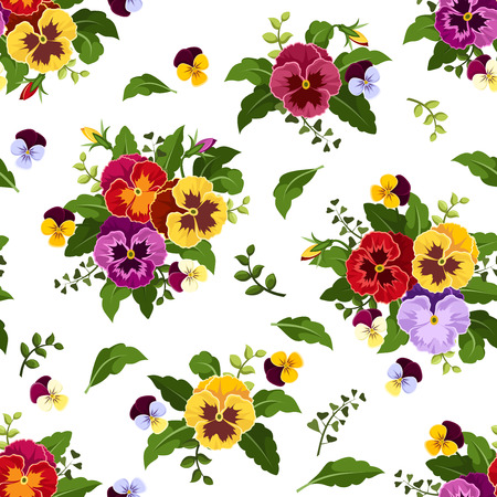 violet flowers: Seamless pattern with colorful pansy flowers  Vector illustration