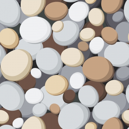 white pebble: Seamless background with stones  Vector illustration