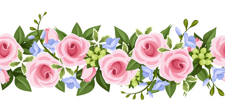 leafage: Horizontal seamless background with roses and freesia  Vector illustration  Illustration