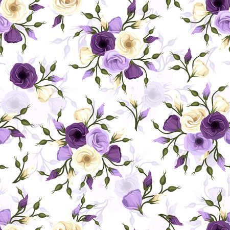 Seamless pattern with lisianthus flowers  Vector illustration  Ilustrace