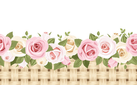 pink flower background: Horizontal seamless background with roses and wicker  Vector illustration