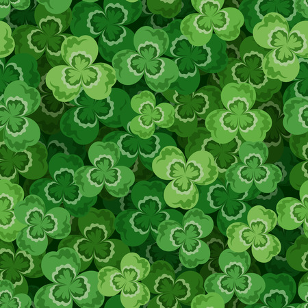 cloverleaf: St  Patrick s day vector seamless background with shamrock