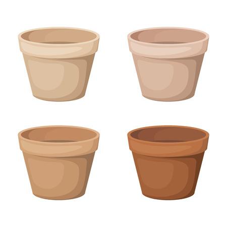 植木鉢 4 つのベクトル イラストを設定します。  イラスト・ベクター素材