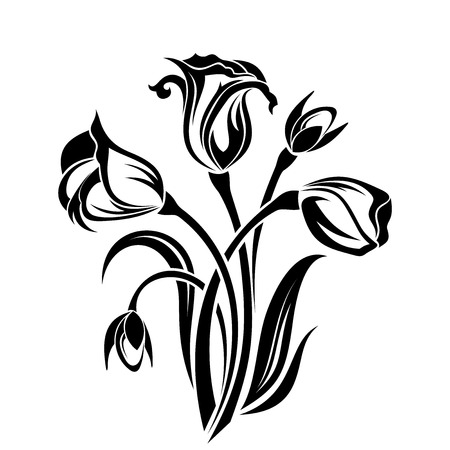 Black silhouette of flowers  Vector illustration  Illustration