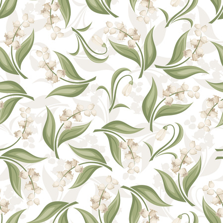 Seamless pattern with lily of the valley and snowdrop flowers  Vector illustration  Vector