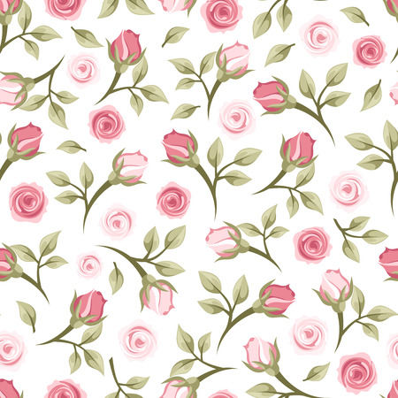 red floral: Seamless pattern with roses  Vector illustration