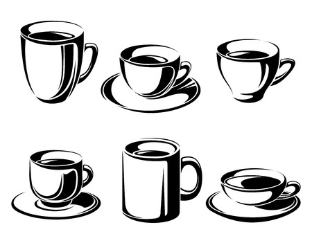 Set of tea and coffee cups  Vector black silhouettes  Vector