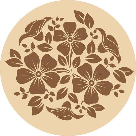 Brown adorno de flores sobre un fondo beige Ilustración vectorial