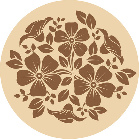 carving: Brown flower ornament on a beige background  Vector illustration