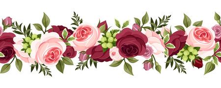bordi decorativi: Sfondo senza soluzione di continuit� orizzontale con le rose illustrazione vettoriale