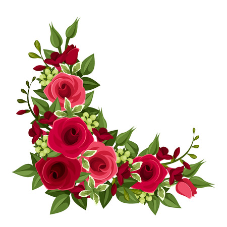 lily buds: Red roses corner  Vector illustration