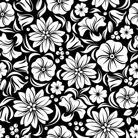 bedclothes: White seamless floral pattern on black  Vector illustration  Illustration