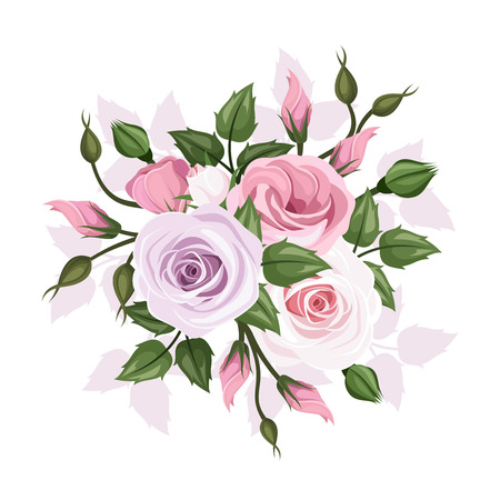 rose stem: Roses and lisianthus flowers  Vector illustration  Illustration