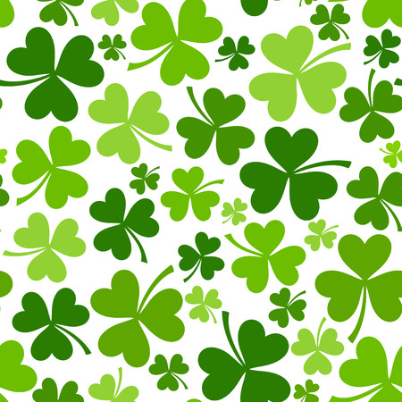 St  Patrick s day vector seamless background with shamrock