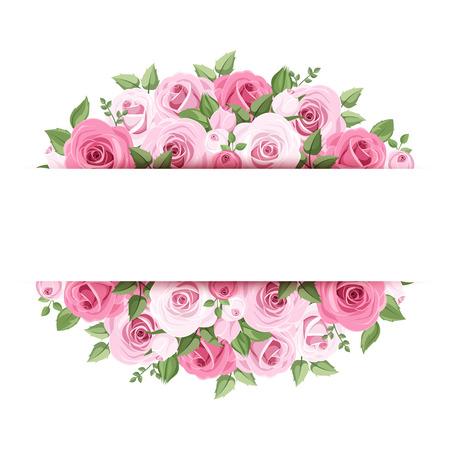 핑크 장미와 배경 일러스트