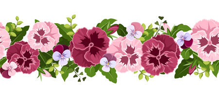Horizontal seamless background with pansy flowers  Vector illustration  Vector