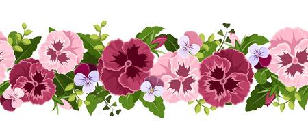 Sfondo senza soluzione di continuità orizzontale con fiori pansy illustrazione vettoriale Vettoriali