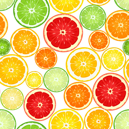 Seamless background with citrus fruits  Vector illustration  Vector
