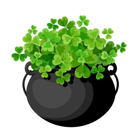 celtic shamrock: Leprechaun s pot with shamrock  Vector illustration