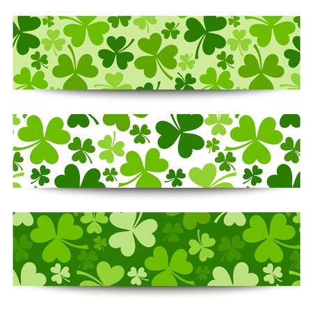 Three vector St  Patrick s day banners with shamrock  Ilustrace