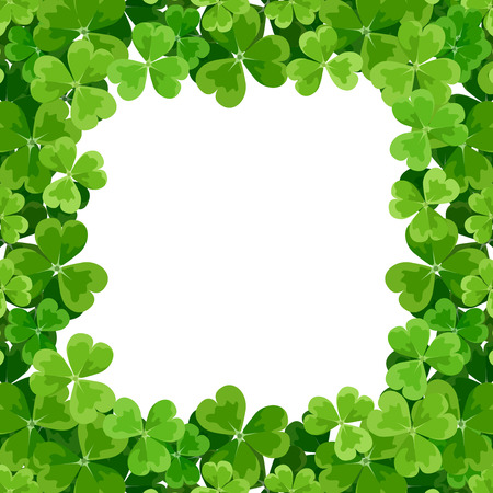 St  Patrick s frame with shamrock  Vector illustration