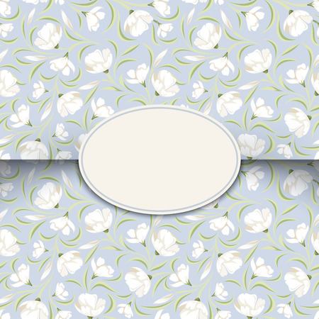 ivory: Blue card with floral pattern   Illustration