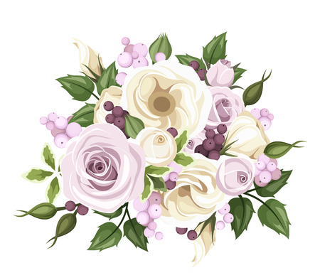 Bouquet of roses and lisianthus flowers  Vector illustration