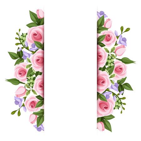 Achtergrond met rozen en fresia bloemen Vector Stock Illustratie