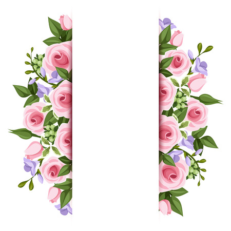 Background with roses and freesia flowers  Vector  Vector
