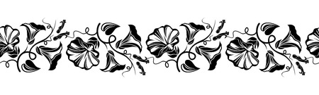 Horizontal seamless vignette with bindweed flowers  Vector illustration  Vector