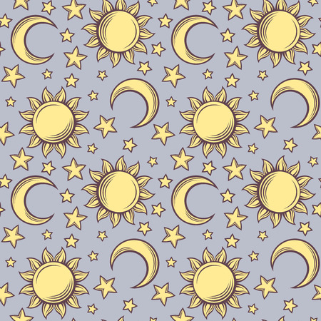 Seamless pattern with suns, moons and stars  Vector illustration