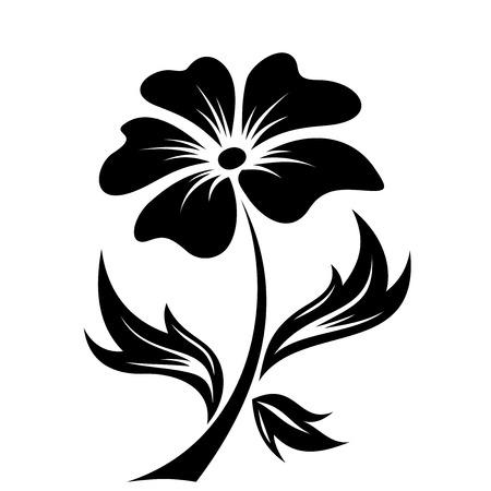 식물상: 꽃 벡터 일러스트 레이 션의 검은 실루엣