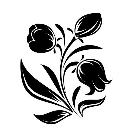 fekete-fehér: Fekete sziluettje virágok vektoros illusztráció