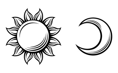 crescent moon: Black silhouettes of the sun and the moon  Vector illustration  Illustration