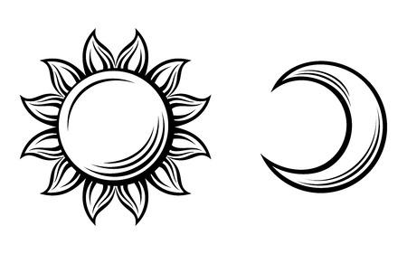 preto: Silhuetas pretas do sol e da lua ilustra