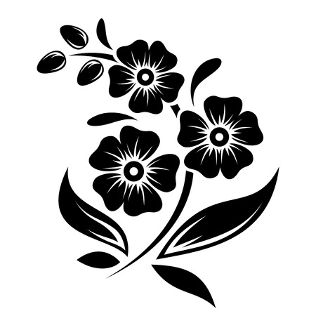Black silhouette of flowers  Vector illustration  Иллюстрация