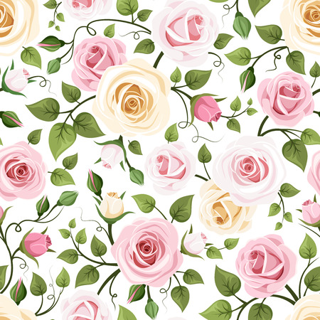 tea rose: Seamless pattern with roses  Vector illustration