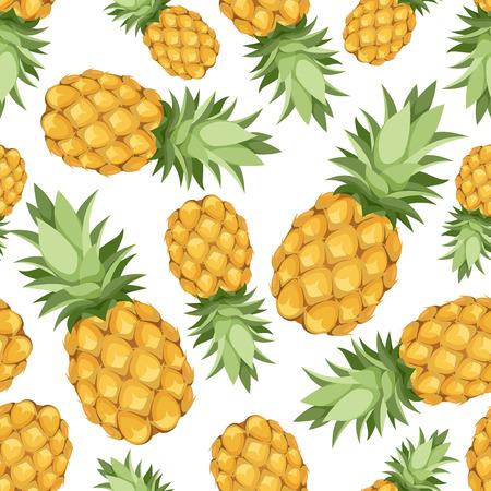 Naadloze achtergrond met ananas Vector illustratie Stock Illustratie