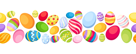 Seamless horizontal background with colorful Easter eggs  Vector illustration  Vector