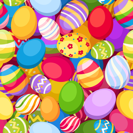 Seamless background with colorful Easter eggs  Vector illustration  Vector