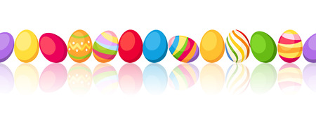 vector eggs: Seamless horizontal background with colorful Easter eggs  Vector