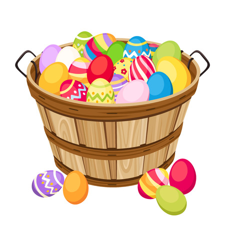 Easter colorful eggs in wooden basket  Vector illustration  Vector