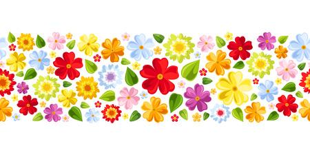 水平のシームレスな背景とカラフルな花ベクター画像