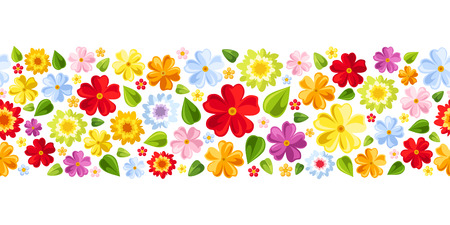 Horizontal seamless background with colorful flowers  Vector illustration