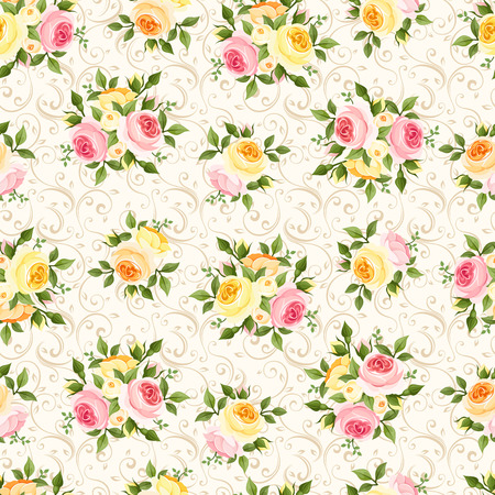 Seamless pattern with pink, orange and yellow roses  Vector illustration