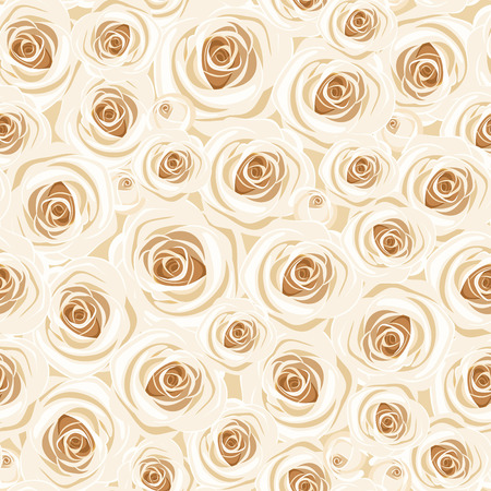 ivory: Seamless background with white roses  Vector illustration