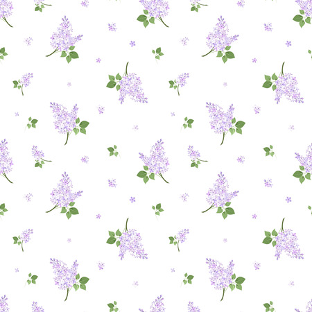 Seamless pattern with lilac flowers  Vector illustration