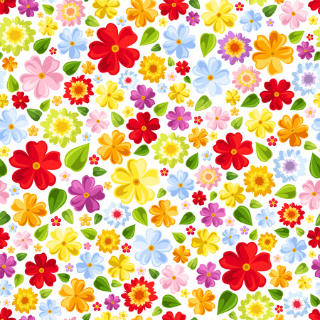 Seamless background with colorful flowers  Vector illustration