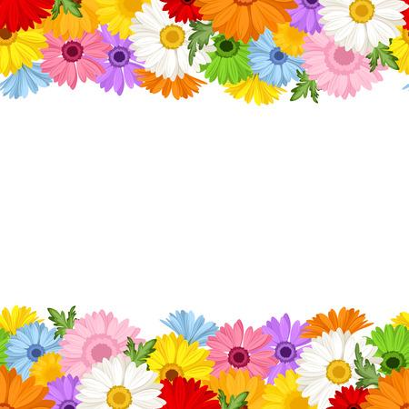 ガーベラの花のベクトル図の水平方向のシームレスな背景